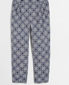 J CREW Printed Drapey Pant in Blue White